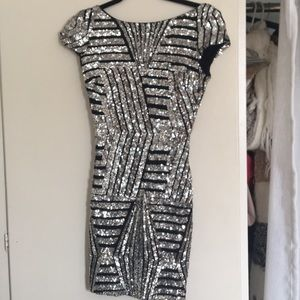 Black dress with silver sequin